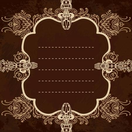 technically: Drawn industrial steampunk style frame,