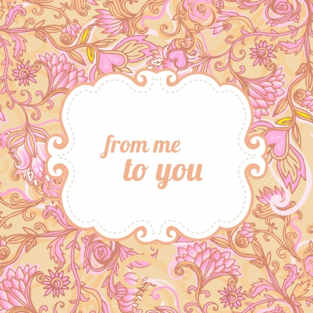 Stylish floral Valentines day background. Element for design. Vector illustration.  Vector