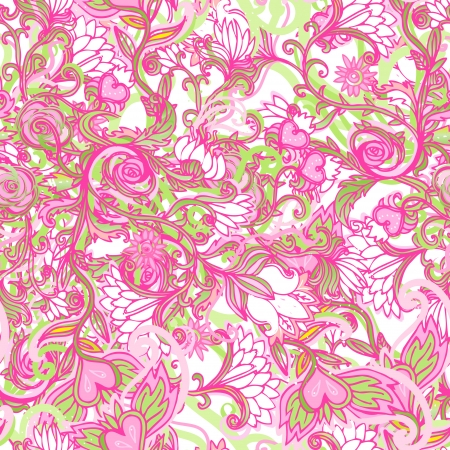 Floral seamless pattern, endless texture with flowers in vintage style. Wallpaper, background.  Vector