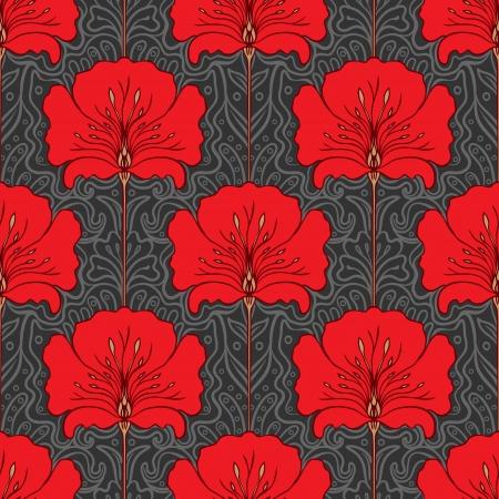 ピンクの花と黒と白のシームレスなパターン。アール ヌーボー様式です。