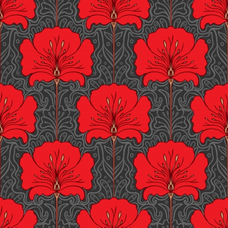 textiles: Black and white seamless pattern with pink flowers. Art nouveau style.