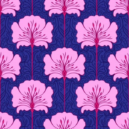 Black and white seamless pattern with pink flowers. Art nouveau style.  Vector