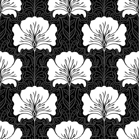 art nouveau: Black and white seamless pattern with pink flowers. Art nouveau style.