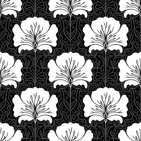 stile liberty: In bianco e nero seamless con fiori rosa. Stile liberty.
