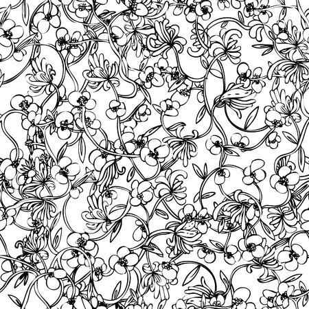 Floral seamless pattern, endless texture with flowers in vintage style. Wallpaper, background.  Illustration