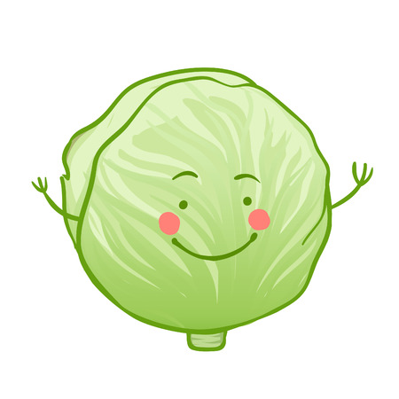 Funny vegetables vector icon set, cabbage