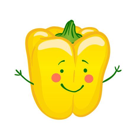 Funny vegetables vector icon set, paprika