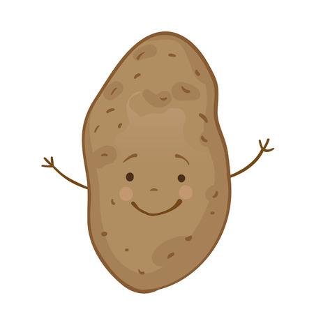 potato plant: Funny vegetables vector icon set, potato