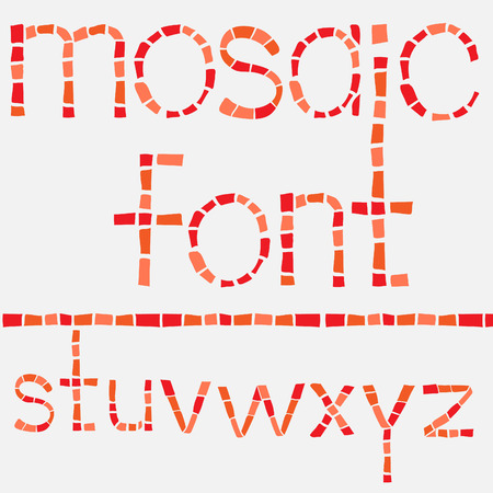Glass mosaic latin alphabet set. Vector illustration.  Vector