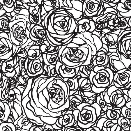 flower white: Roses seamless pattern, vector illustration Illustration