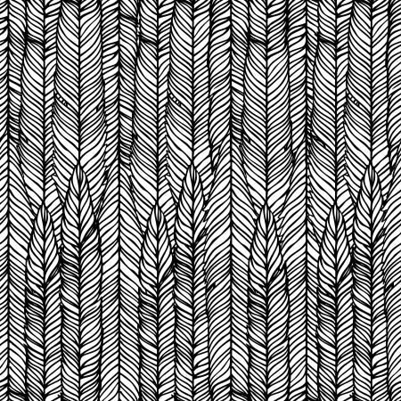 piuma bianca: Seamless pattern astratto a mano, le onde di sfondo.