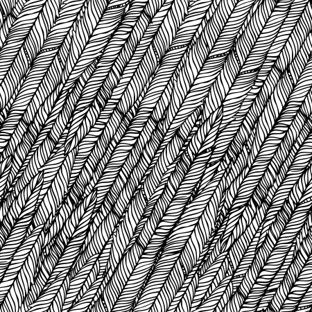 white feather: Seamless abstract hand-drawn pattern, waves background.