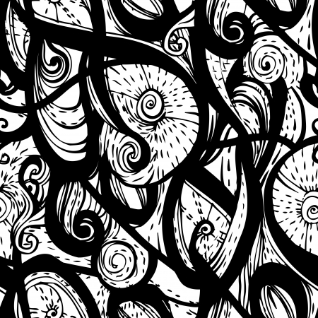 Vector seamless doodle monochrome pattern  Vector