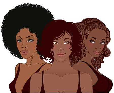 donne brune: Salone di bellezza: Piuttosto giovane donna afro-americana con elegante taglio di capelli, vettore, illustrazione Vettoriali
