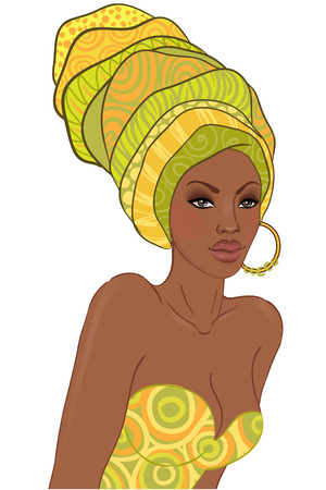 africans: Portrait of beautiful African woman in turban with earring