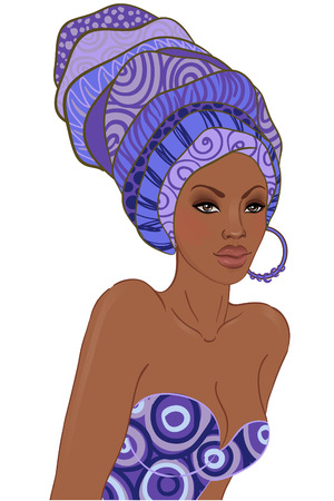 Portrait of beautiful African woman in turban with earring  Vector