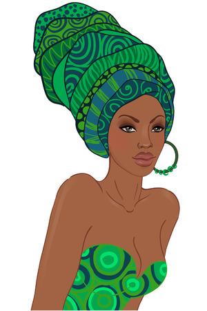 귀걸이와 터번에서 아름 다운 아프리카 여자의 초상화 일러스트