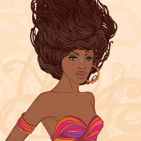 Salon de beauté: Jolie jeune femme afro-américaine avec de beaux cheveux longs. Vector illustration