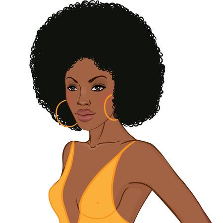디스코 파티 초대장 디자인 템플릿 (아프리카 여성) 일러스트