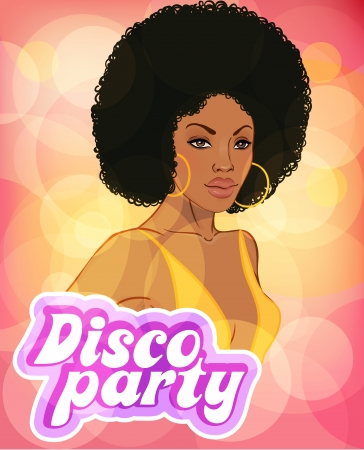 Disco party invitation design template (african lady)