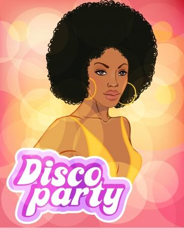 beaut� esthetique: Mod�le de conception d'invitation soir�e disco (dame africaine) Illustration