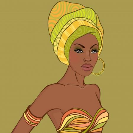 aretes: Retrato de la hermosa mujer africana en el turbante con el pendiente Vectores