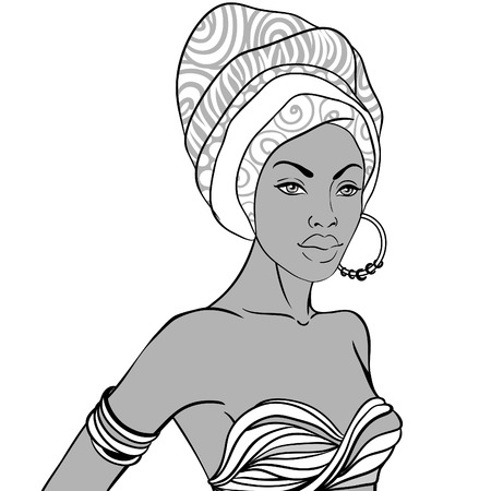 turban: Portrait of beautiful African woman in turban with earring
