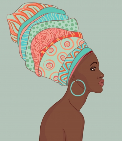 Portrait of beautiful African woman with earring (profile view)  Vector
