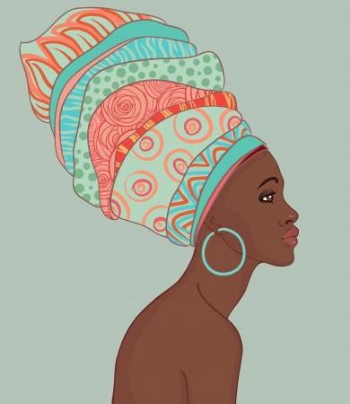 ilustraciones africanas: Retrato de la hermosa mujer africana con el pendiente (ver perfil)
