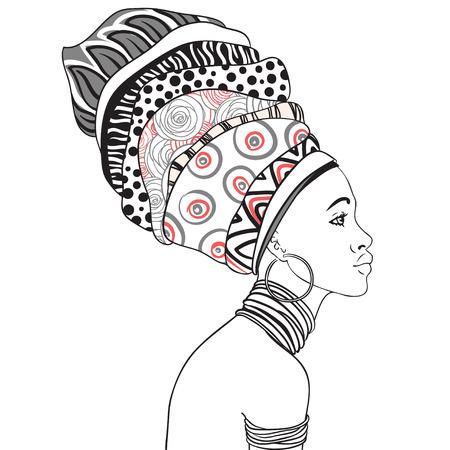 イヤリング (プロフィール) と美しいアフリカ女性のポートレート  イラスト・ベクター素材
