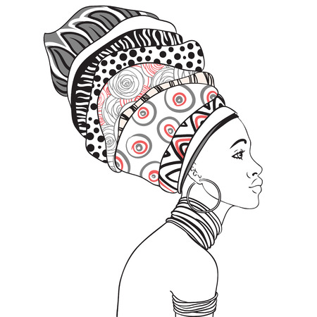turban: Portrait of beautiful African woman with earring (profile view)
