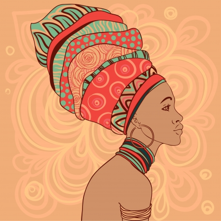 se�oras: Retrato de la hermosa mujer africana con el pendiente (ver perfil)