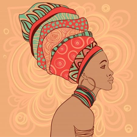 retratos: Retrato de mulher bonita Africano com brinco (vista de perfil) Ilustra��o