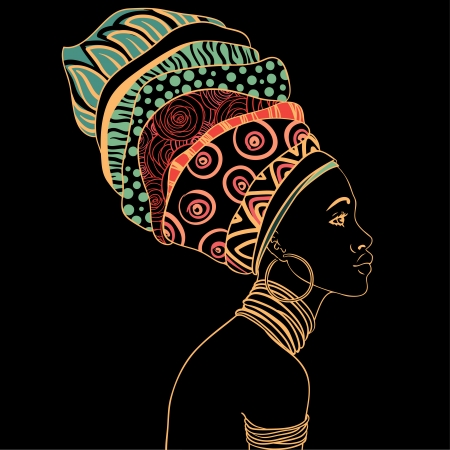 turban: Portrait of beautiful African woman with earring