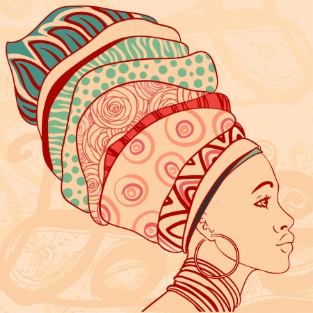 Portrait of beautiful African woman with earring  Vector