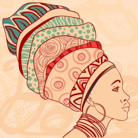 Retrato de la hermosa mujer africana con el pendiente