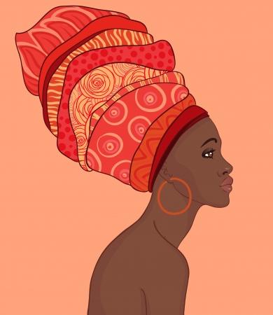 visage femme profil: Portrait de belle femme africaine avec boucle d'oreille