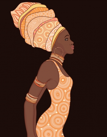 african: Pretty African American woman in traditional turban.  Illustration