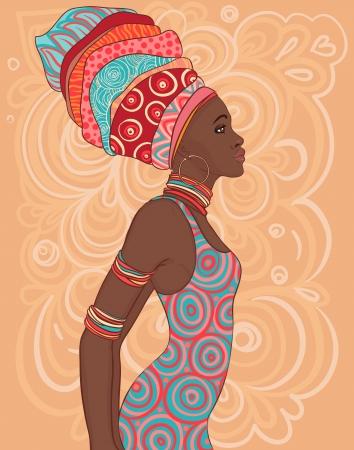 Mujer bonita del afroamericano en el turbante tradicional. Ilustración de vector