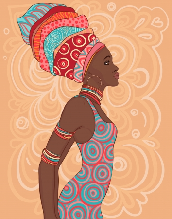 woman background: Pretty African American woman in traditional turban.  Illustration