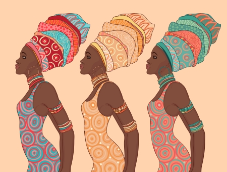sexy dress: Pretty African American woman in traditional turban.   Illustration