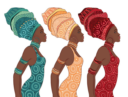 woman isolated: Pretty African American woman in traditional turban.  Illustration