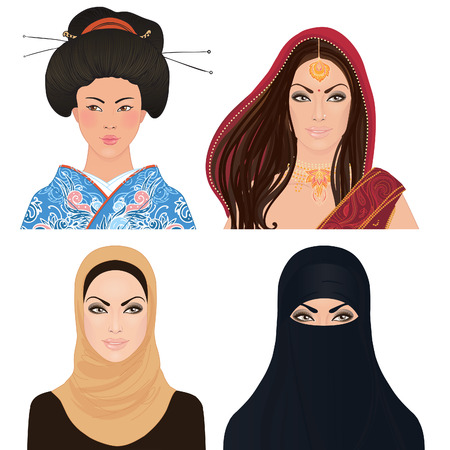 Avatar Icon set: asian woman portrait clipart vector illustrations: Japanese, Indian and a Muslim girls.  Vector