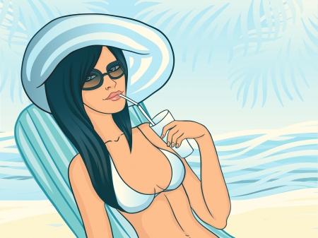 Bikini beach girl drinking cocktail Vector