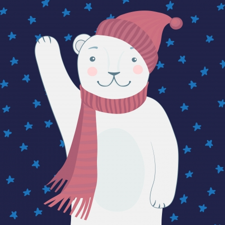 Cute Polar Bear - Vector illustration  Vector