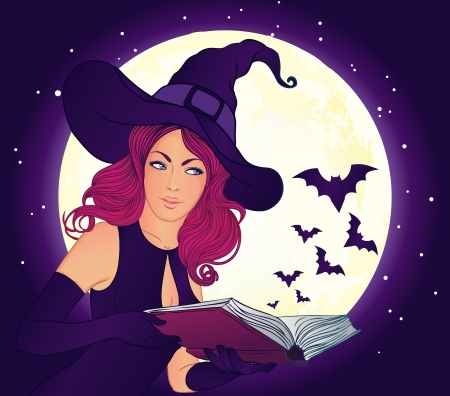 emerged: Young beautiful witch holding a magic book from which emerged flying bats Illustration
