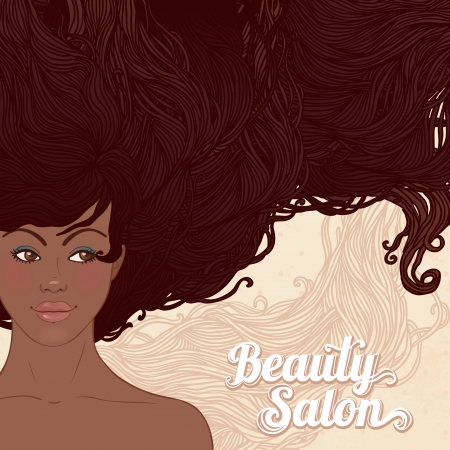 afro hair: Beauty Salon: Pretty young african american woman with beautiful long hairs. Vector illustration Illustration