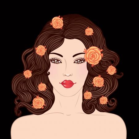dark hair: Sal�n de belleza: mujer joven bonita con un hermoso cabello rojo oscuro aislado en negro. Ilustraci�n vectorial Vectores