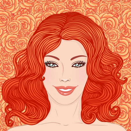 Beauty Salon: Pretty young woman with beautiful red hair on floral background. Vector illustration