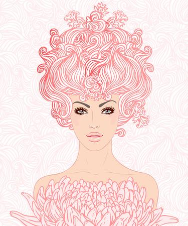 pelo ondulado: Moda Spa bella mujer con largo cabello ondulado de color rosa